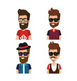 hipster style group of avatars vector image