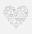 i love you heart in thin line vector image vector image