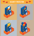 isometric security protection icon set vector image