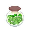 jar of gotu kola tea with pandan leaves