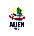 logo alien mascot cartoon style vector image