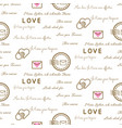 love letters seamless pattern on white vector image
