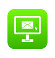 monitor with email sign icon digital green vector image vector image