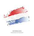 netherlands flag with halftone effect grunge vector image vector image