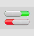 on and off toggle switch buttons slider red and vector image vector image