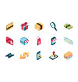 online shopping isometric icons collection vector image vector image