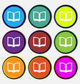 Open book icon sign Nine multi-colored round vector image vector image