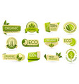 organic food labels eco and bio natural products vector image vector image