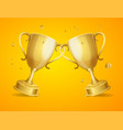 realistic detailed 3d two gold cups set vector image vector image