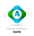 realistic letter a logo in colorful rhombus vector image vector image