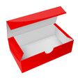 red paper box open empty packaging vector image vector image