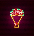 rose bouquet neon sign vector image vector image