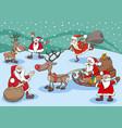 santa claus cartoon characters group on christmas vector image vector image