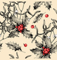 seamless pattern with holly leaves and mistletoe vector image vector image