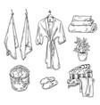 set bathroom textile objects towels robe slippe vector image