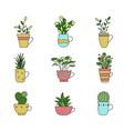 set hand drawn plants in cup cartoon doodle vector image