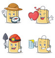 set of bag character with explorer heart miner vector image vector image