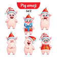 set of christmas pig characters set 2 vector image vector image