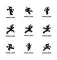 set of ninja warrior logo design template vector image vector image
