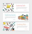 set of web banner templates with gardening tools vector image vector image