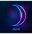 Shining blue neon zodiac Moon symbol vector image vector image