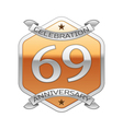 Sixty nine years anniversary celebration silver vector image vector image