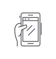 smartphone in hand line icon concept smartphone vector image