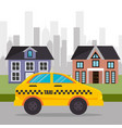 suburban cab service town design vector image vector image