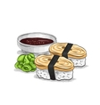 sushi color sketch Tamago Nigiri vector image vector image