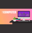 the computer on working table pink background vect vector image