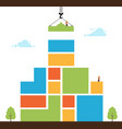 tower crane made colored blocks builds home vector image