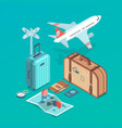 travel set with airplane vector image vector image