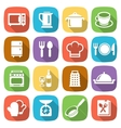 Trendy flat kitchen and cooking icons vector image