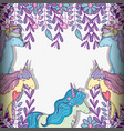 unicorns animal with flowers and branches leaves vector image