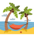 vacation and travel concept red hammock between vector image vector image