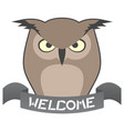 welcome owl vector image vector image
