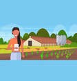 woman farmer using mobile app to monitoring field vector image
