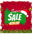 xmas sale poster with christmas origami banner vector image vector image