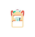 yellow school bag with sticking out stationery and vector image vector image