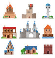 medieval historical buildings of different vector image