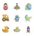 children toys icons set cartoon style vector image