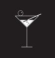 martini glass on black vector image