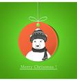 modern flat card with doodle bear on Christmas vector image