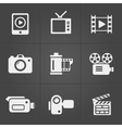 Video icons over black background vector image