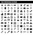 100 design icons set simple style vector image vector image