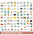 100 transport site icons set flat style vector image vector image