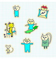 a set of stickers with cats handmade sketch vector image vector image