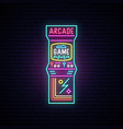 arcade game machine neon sign entertainment vector image