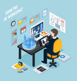 augmented reality workplace isometric composition vector image vector image