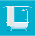 bathtub with shower isolated on blue background vector image
